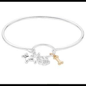 Dog lover charm bracelet 2 tone  paw bone nwt